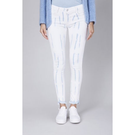 Chloe Skinny Batik Denim - Striped Indigo Batik